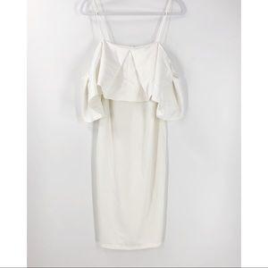 Do + Be White Off Shoulder Cocktail Dress Midi L